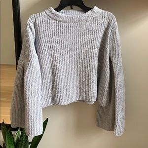 MANGO Bell sleeved crop ribbed sweater